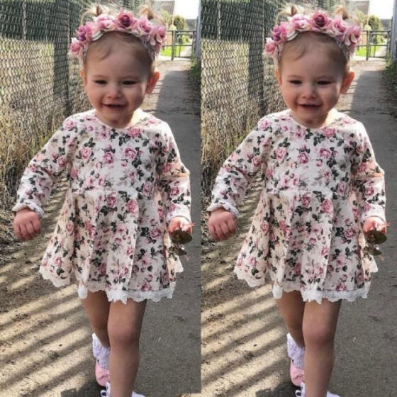 Baby Girls Dress Long Sleeve Floral Princess Party Pageant Dresses Kids Clothes