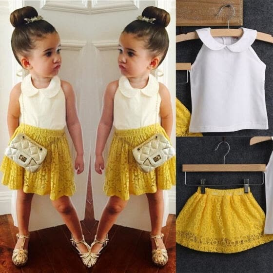 Kids Baby Girls Sleeveless Top+Yellow Lace Printing Dress 2Pcs Suit Outfit Set