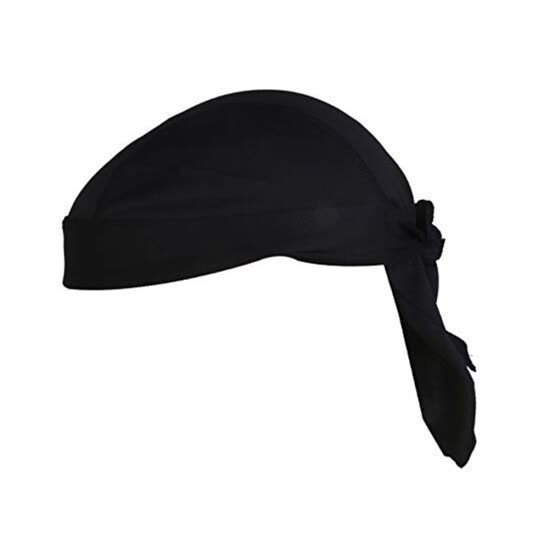 Men Women Black Polyester Bandana Turban Lace Riding Cap Sports Headwear Hat Headband Headwear