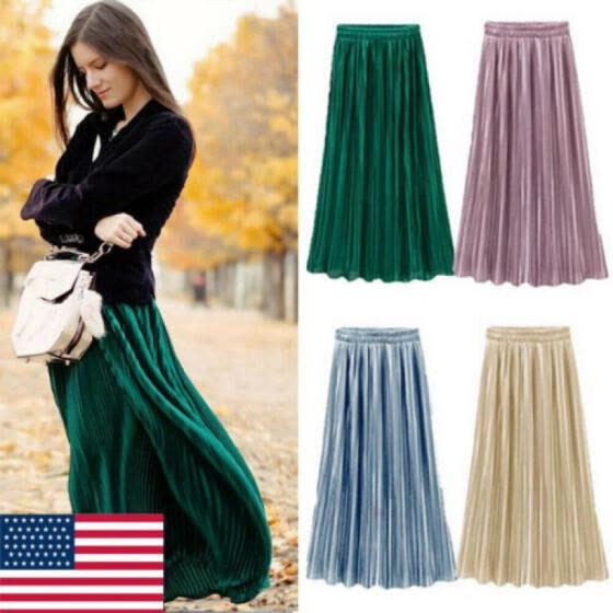 Ladies Womens Long Midi Pleated Skirt Elastic Waist Double Layer Chiffon Dresses