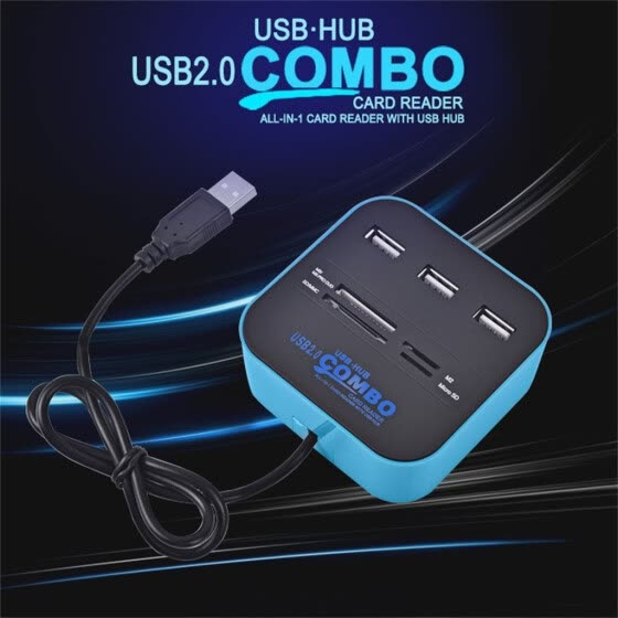 High Speed USB 2.0 Hub 3 Ports with Card Reader Mini Hub USB Combo All in One