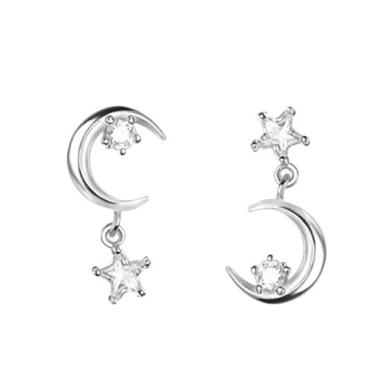 Shop Fashion Asymmetrical Earrings Star Moon Zircon Ear Studs