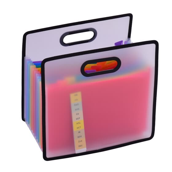 Accordian Expanding File Folder A4 Paper Filing Cabinet 12 Pockets Rainbow Coloured Portable Receipt Organizer with File Guide and