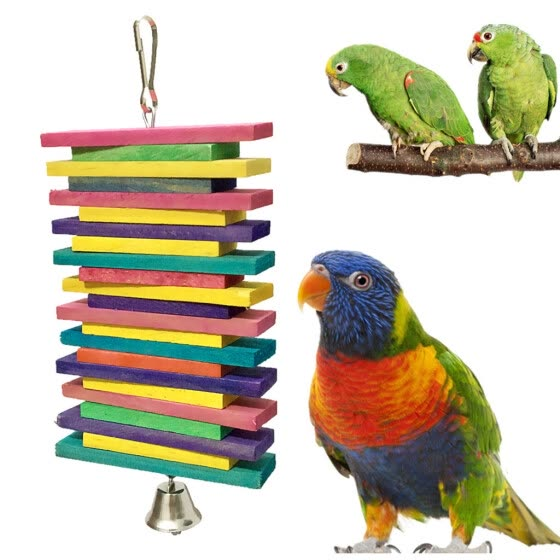 Bird Pet Hanging Building Blocks And Bell Toy Bird Cage Pendant Chew Toy