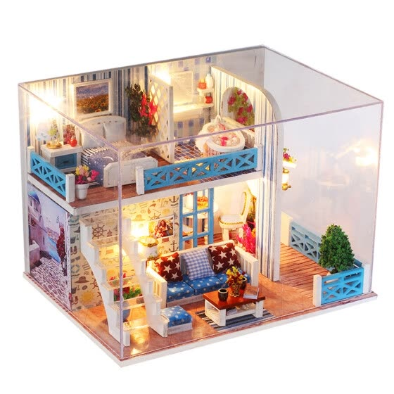 DIY Sea View Wooden Hut Villa Assembly Doll House Coast Miniature Dollhouse 3D Furniture Building Blocks
