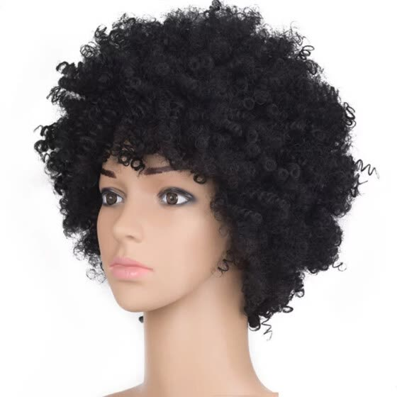 Black Synthetic Curly Wigs for Women Short  Wig African American Natural