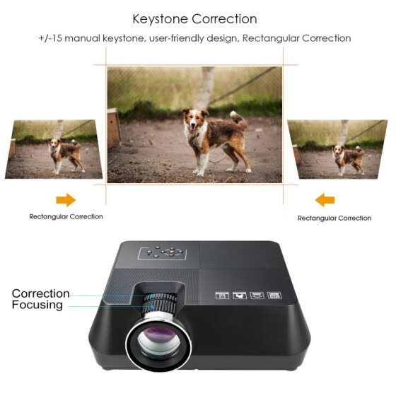 "Wired Mini Projector, Full HD 1080P with 30,000 Hrs 4.0"" LED Lamp Life, Compatible with TV Stick, HDMI, VGA, TF, AV and USB"