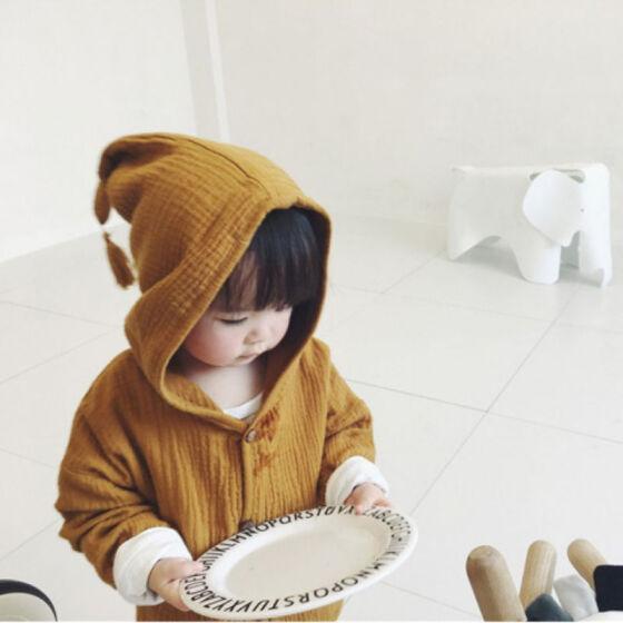 Kids Baby Girls Boy Cotton Linen Hooded Coat Jacket Infant Tassel Outerwear Tops