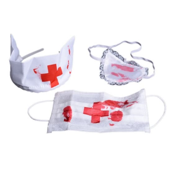 Bloody Nurse Kit Halloween Costume Accessory Cosplay Props Fancy Dress Up Set Mask,Headpiece And Eyepatch
