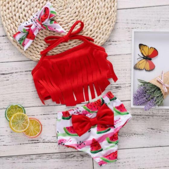 3Pcs Baby Girl Watermelon Clothes Tassel Swimwear Bathing Suit Bikini Set 0-18M