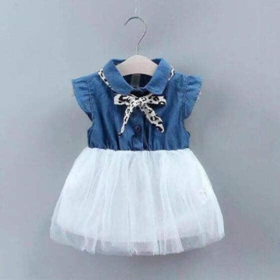 Toddler Baby Girl Denim Tops Shirt+Tutu Skirt Set Infant Outfit Party Mini Dress