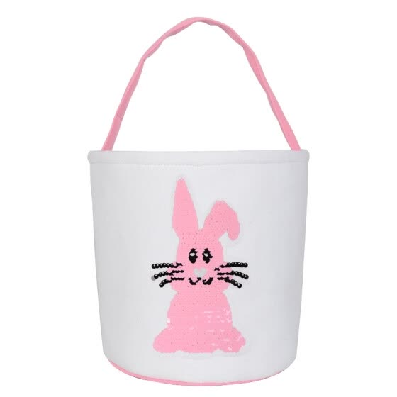 New 12 Colors Canvas Easter Rabbit Basket Sequin Bunny Bags For Kids Easter Gift Cute Candy Egg Bucket With Rabbit Tail