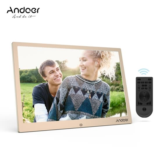 Andoer 12inch LED Digital Photo Frame 1280 * 800 Resolution Support 1080P Video Random Play   Aluminum Alloy with Remote Control C