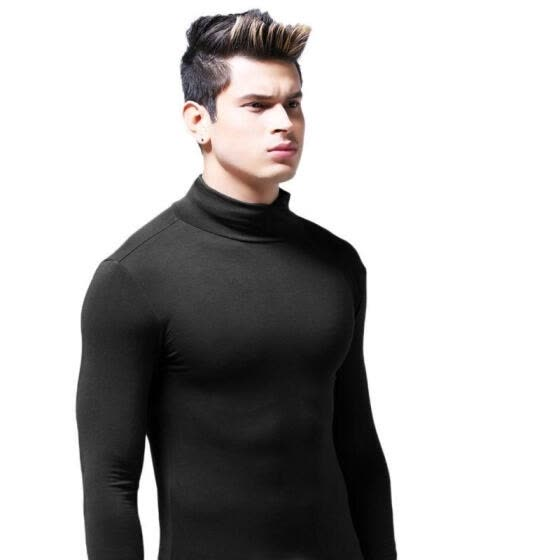 Fashion Men's T shirt 4 Basic colors Long Sleeve Slim T-shirt Young men Turtle Neck Autumn Casual Slim Elastic Soft Tops Tee