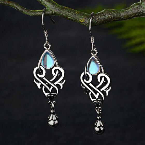 Boho 925 Silver Sapphire Turquoise Emerald Ear Hook Women Jewelry Earrings Gift