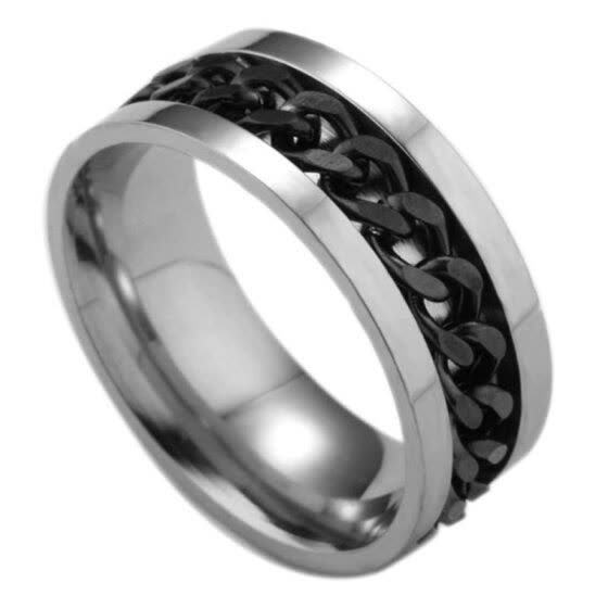 Fashion Men Rotatable Chain Titanium Steel Finger Ring Engagement Jewelry Gift
