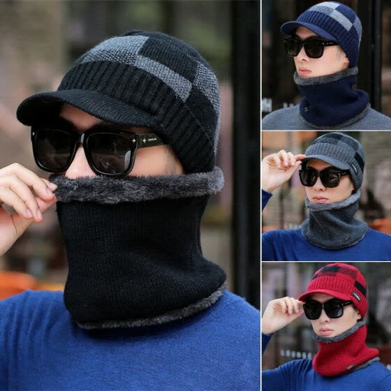 New Men Winter Thermal Cap Beanie Hat Knitted Winter Cap Beanie Wool Neck Scarf