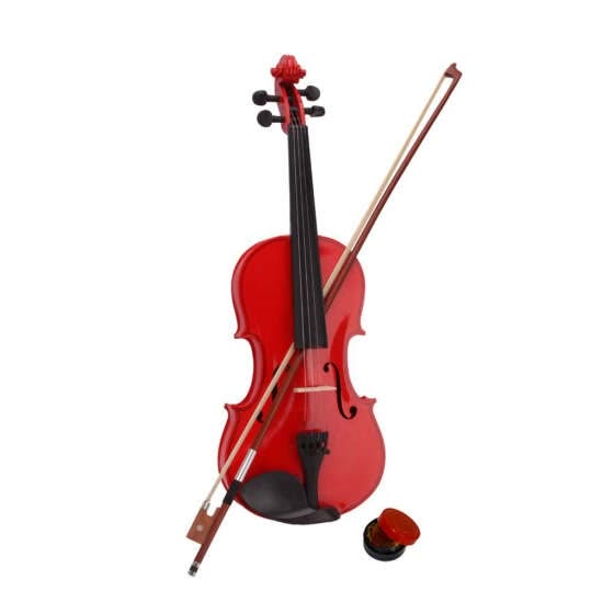 4/4 Full Size Wood Acoustic Violin Beginner Pack with Case Bow Rosin Set Gifts Red