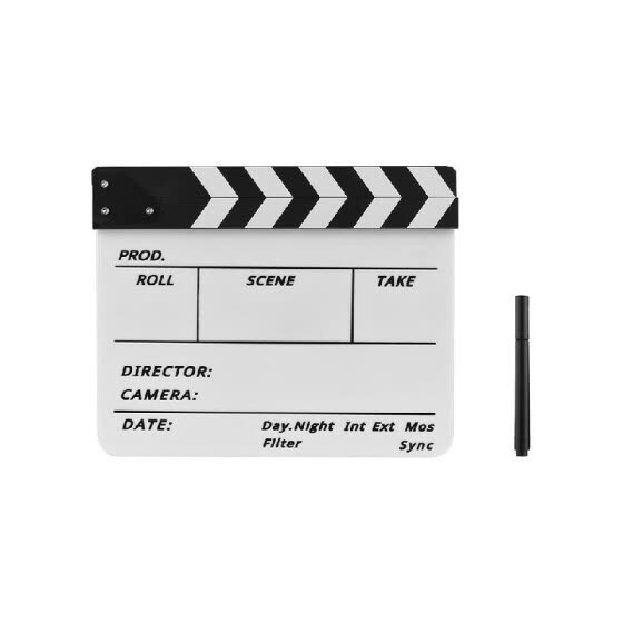 Dry Erase Acrylic Director Film Clapboard Movie TV Cut Action Scene Clapper Board Slate with Marker Pen, Black/White Stick, White