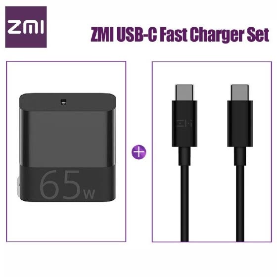 Xiaomi ZMI USB-C Fast Charger 65W With USB-C to USB-C Data Cable Fast Charging Power Adapter Foldable Plug For iPhone iPad MacBook