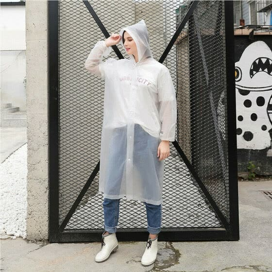 Women Men Clear See Through Hooded Jacket Coat Transparent Raincoat Outdoor