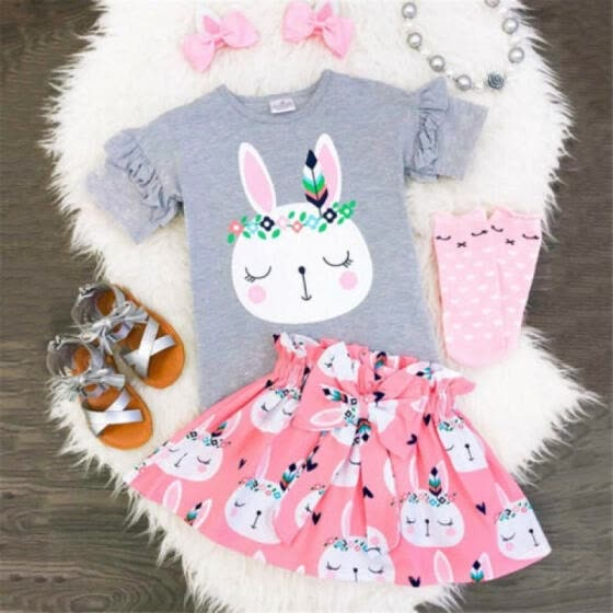UK Newborn Toddler Baby Girls Rabbit Romper Skirt Party Outfit Easter Costume