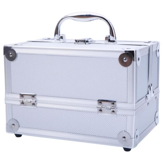 "SM-2176 Aluminum Makeup Train Case Jewelry Box Cosmetic Organizer with Mirror 9""x6""x6"" Silver"