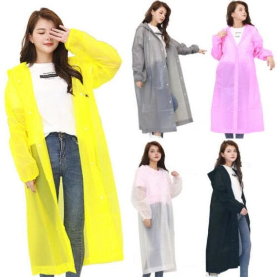 Women Men Waterproof Jacket Clear EVA Raincoat Rain Coat Hooded Poncho Rainwear