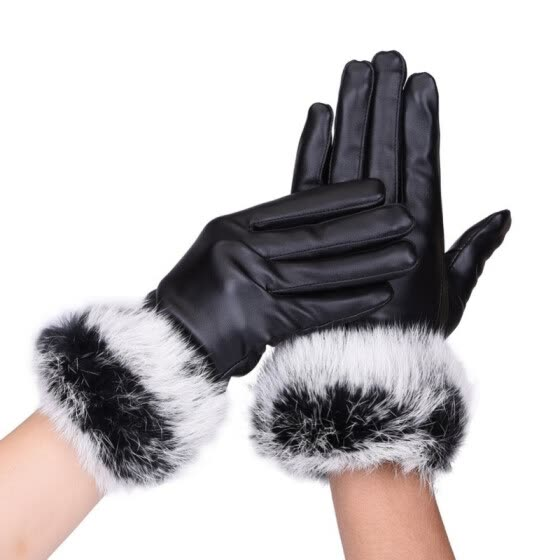 Winter Women's Clothing Accessories Elegant Rabbit Leather Glove Warm Driving Soft Mittens Wrist Female Touched Screen Gloves
