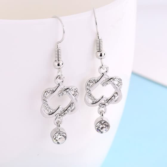 Sweet Twisted Heart-shaped Earrings Fashion Diamond Gemstone Love Earrings
