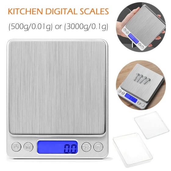 Digital Kitchen Scale 500g/ 0.01g and 3000g/0.1g Mini Pocket Jewelry Scale Cooking Food Scale with Back-Lit LCD Display