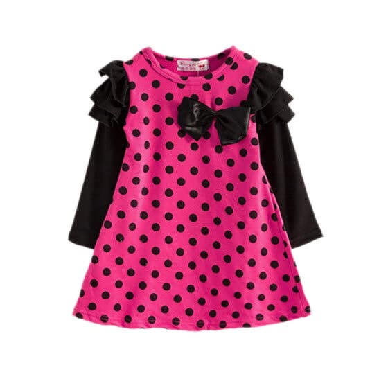 New Autumn Baby Girls Dress Clothes Polka Dot Pattern Long Sleeve Dress Kids Toddler Pageant Sundress 2-8y