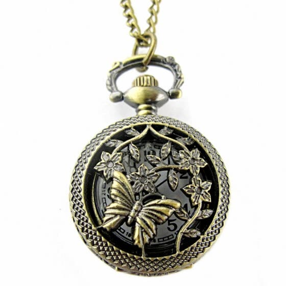 【MIARHB】Retro Bronze Butterfly and Flower Openwork Cover Pocket Quartz Watch ( watch for women )