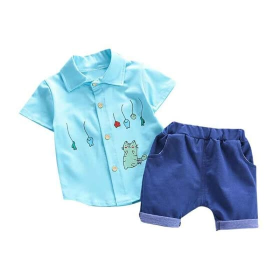 Summer Baby Boys Short Sleeve Cartoon Print Tops Blouse Shirt+Shorts Children Casual Outfits Sets Baby Boy Clothes
