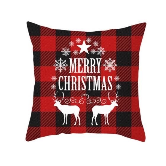 17.7in Double-sided Decorative Christmas Theme Checked Throw Pillow Case Red Green Black Plaid Cushion Cover for Sofa Car Home