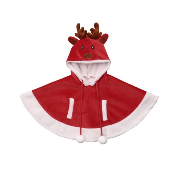 Infant Baby Girls Boys Autumn Warm Christmas Coat Cloak Jacket Cute Kids Cartoon Hoodie Outerwear Kids Warm Cloak