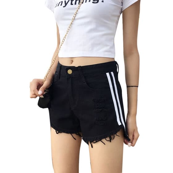 Summer New Personality Side Contrast Color Striped Denim Shorts Raw Edge Hole short Fashion Loose Wide Leg