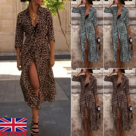Shop Women Leopard Print Maxi Dress Lady Long Sleeve V Neck Party ...