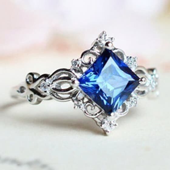 Vintage Princess Cut Lab Sapphire Ring 925 Sterling Silver Sapphire Engagement Rings Bridal Fine Jewelry