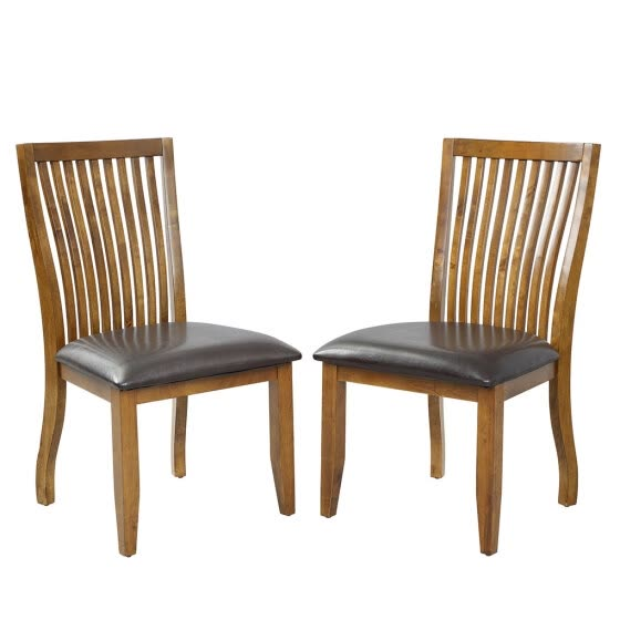 2pcs Dining Chairs Set with PU Covered Cushion and Solid Wood Legs Home Kitchen Furniture Brown