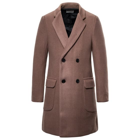 Men's Autumn Casual Trench New Fashion Long Solid Color Trim Outwear Coat