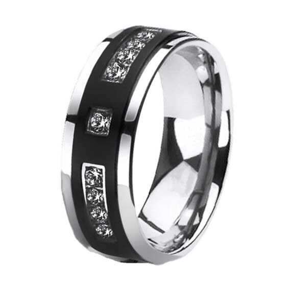 Fashion Couple Rings He And Her Diamond Rings Wedding Rings 316L Stainless Steel Men Ring