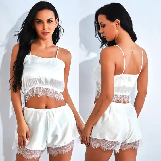 〖Follure〗New Women Satin Lace Silk Underwear Pajamas Lingerie White Camisole Shorts Set