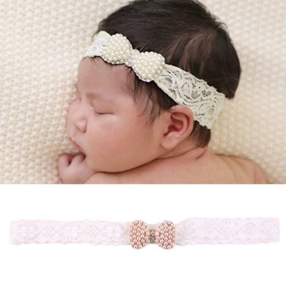 Baby Girl Princess Lace Faux Pearl Hair Band Cute Newborn Christening Headband
