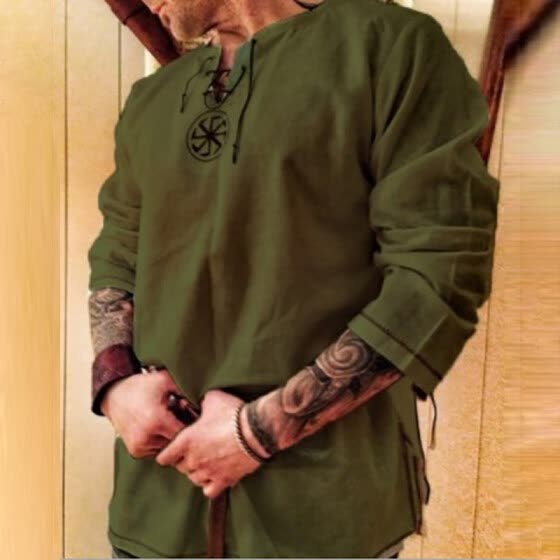 Men Shirt Pure Color Retro Lace Up Long Sleeve Embroidered Casual Oversize Tops
