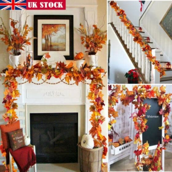 UK Artificial Autumn LED Maple Leaf ORANGE Garlands/DECORATION /DISPLAY/WEDDING