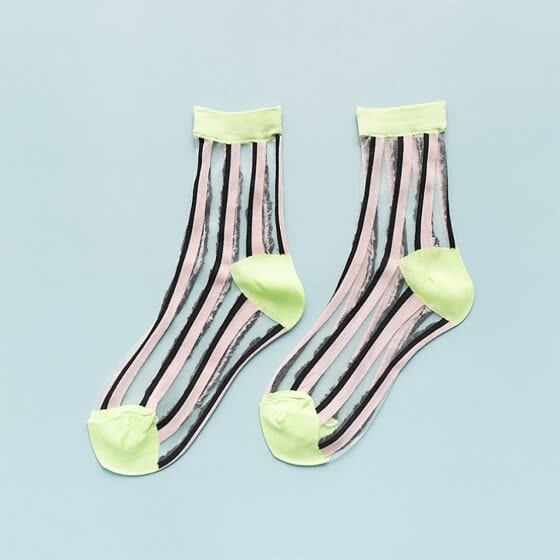 [Meet Myself] Woman's Ultrathin Socks Stripe Transparent Crystal Lace Elastic Short Socks