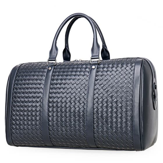 3331a9c419 100% Cowhide Weaving Genuine Leather Men Travel Bag Real Leather Duffle Bags  Big Luggage Carry