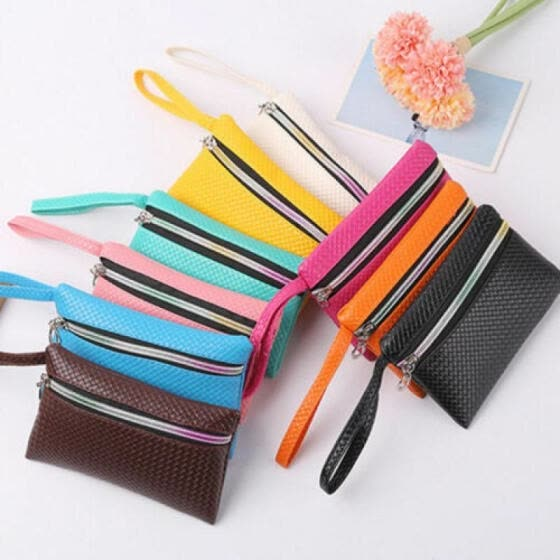 Women's Leather Small Mini Wallet Card Holder Zip Coin Purse Clutch Handbag Cute