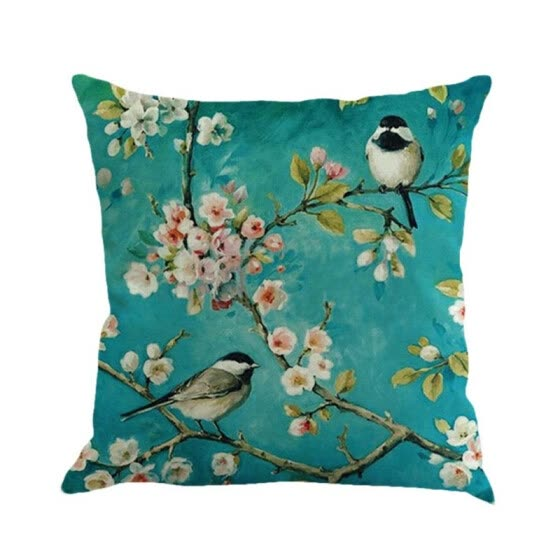 Green Color New Style Birds Cushion Home  Decorative Pillows Butterfly  Linen Cojines  Pillow Cover